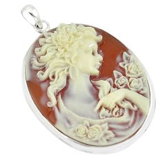 22.02cts victorian princess cameo 925 sterling silver pendant jewelry c21283