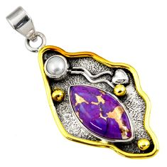 12.34cts victorian purple copper turquoise 925 silver two tone pendant d44018