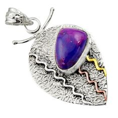 6.89cts victorian purple copper turquoise 925 silver two tone pendant d44915