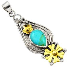 Victorian sleeping beauty turquoise 925 silver two tone flower pendant d44032