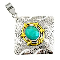 5.07cts victorian sleeping beauty turquoise 925 silver two tone pendant d44074