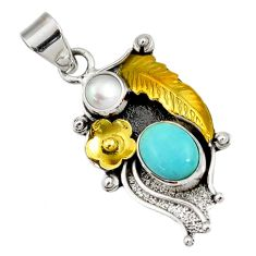 Victorian sleeping beauty turquoise silver two tone flower pendant d44006
