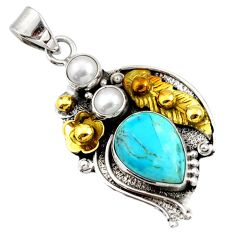 Victorian sleeping beauty turquoise silver two tone flower pendant d44008