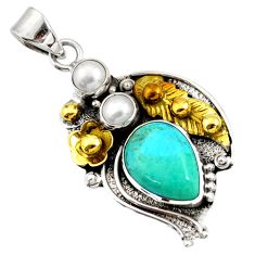 Victorian sleeping beauty turquoise silver two tone flower pendant d44022
