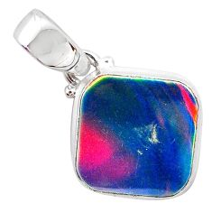 3.64cts volcano aurora opal (lab) 925 sterling silver pendant jewelry t25879