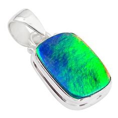 3.65cts volcano aurora opal (lab) 925 sterling silver pendant jewelry t26027