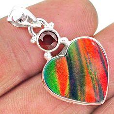 8.15cts volcano aurora opal (lab) garnet 925 silver pendant jewelry t16890