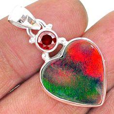 8.15cts volcano aurora opal (lab) garnet 925 silver pendant jewelry t16894