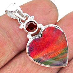 8.18cts volcano aurora opal (lab) garnet 925 silver pendant jewelry t16899