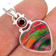 8.15cts volcano aurora opal (lab) garnet 925 silver pendant jewelry t16904