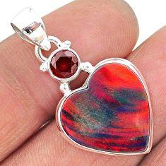 8.22cts volcano aurora opal (lab) garnet 925 silver pendant jewelry t16909