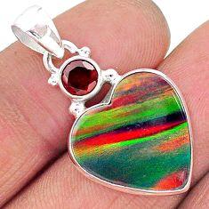 8.10cts volcano aurora opal (lab) garnet 925 silver pendant jewelry t16911