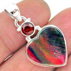 8.53cts volcano aurora opal (lab) garnet 925 silver pendant jewelry t16915