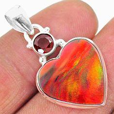 9.20cts volcano aurora opal (lab) garnet 925 silver pendant jewelry t16935