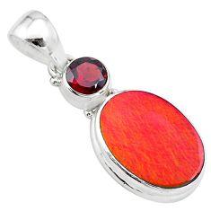 4.82cts volcano aurora opal (lab) garnet 925 silver pendant jewelry t25901