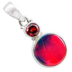 4.72cts volcano aurora opal (lab) garnet 925 silver pendant jewelry t25916