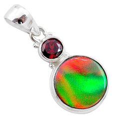 5.11cts volcano aurora opal (lab) garnet 925 silver pendant jewelry t25932