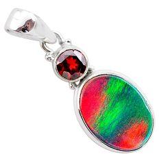 5.09cts volcano aurora opal (lab) garnet 925 silver pendant jewelry t25934