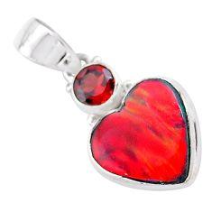 4.45cts volcano aurora opal (lab) garnet 925 silver pendant jewelry t25948