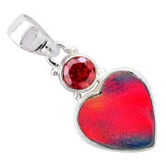 4.37cts volcano aurora opal (lab) garnet 925 silver pendant jewelry t25951