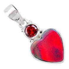 4.72cts volcano aurora opal (lab) garnet 925 silver pendant jewelry t25960