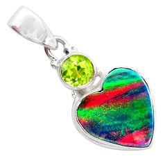 4.46cts volcano aurora opal (lab) green peridot 925 silver pendant t26043