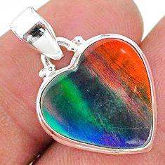 6.72cts volcano aurora opal (lab) heart 925 silver pendant jewelry t16861