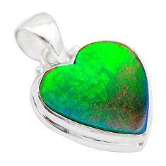 4.84cts volcano aurora opal (lab) heart 925 silver pendant jewelry t26039