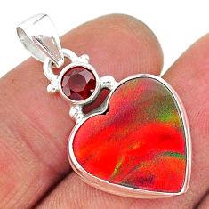 8.62cts volcano aurora opal (lab) heart garnet 925 silver pendant t16908