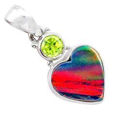 4.82cts volcano aurora opal (lab) heart peridot 925 silver pendant t25935