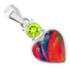 4.45cts volcano aurora opal (lab) heart peridot 925 silver pendant t25950