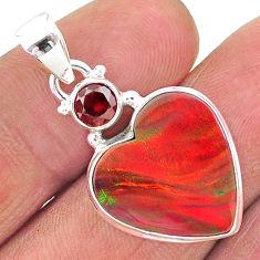 9.22cts volcano aurora opal (lab) heart red garnet 925 silver pendant t16921