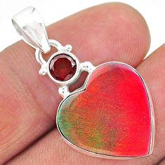 9.68cts volcano aurora opal (lab) heart red garnet 925 silver pendant t16922