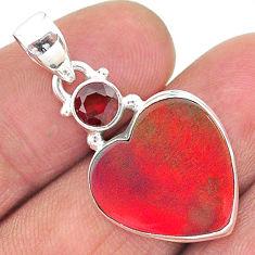9.20cts volcano aurora opal (lab) heart red garnet 925 silver pendant t16923