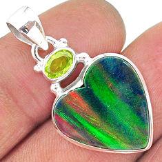 8.73cts volcano aurora opal (lab) peridot 925 silver pendant jewelry t16917