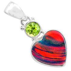 4.46cts volcano aurora opal (lab) peridot 925 silver pendant jewelry t25907