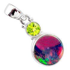 5.06cts volcano aurora opal (lab) peridot 925 silver pendant jewelry t25931