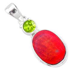 4.72cts volcano aurora opal (lab) peridot 925 silver pendant jewelry t25954
