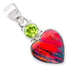 4.45cts volcano aurora opal (lab) peridot 925 silver pendant jewelry t25957