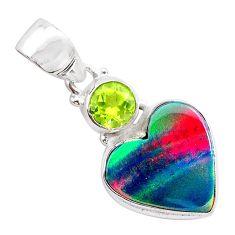 4.03cts volcano aurora opal (lab) peridot 925 silver pendant jewelry t25978