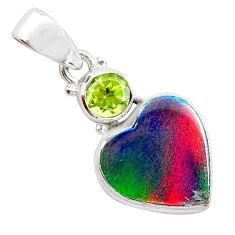 3.65cts volcano aurora opal (lab) peridot 925 silver pendant jewelry t26050