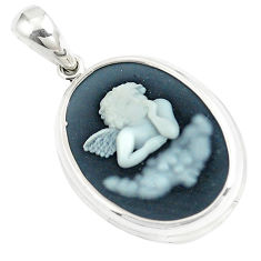 10.22cts white baby wing cameo 925 sterling silver pendant jewelry c21344