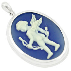 White baby wing with bow cameo 925 sterling silver pendant jewelry c21320