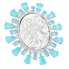 White blister pearl aqua chalcedony 925 sterling silver cameo pendant c19017
