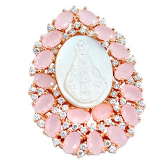 White blister pearl pink chalcedony 925 sterling silver pendant cameo c19039
