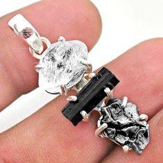 White herkimer diamond campo del cielo tourmaline raw silver pendant t49386