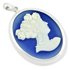 23.09cts white lady cameo 925 sterling silver pendant jewelry c21313