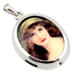 17.20cts white lady cameo 925 sterling silver pendant jewelry c26323
