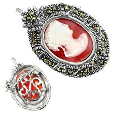 White lady cameo marcasite 925 sterling silver brooch pendant jewelry c20876