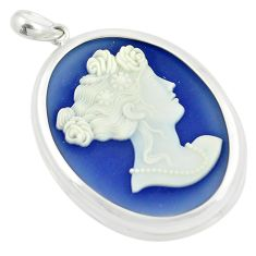 23.11cts white lady cameo oval 925 sterling silver pendant jewelry c21310